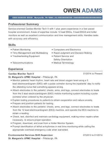 Cardiac Monitor Tech II resume template Pennsylvania
