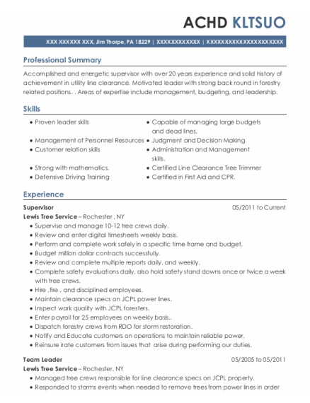 Supervisor resume sample Pennsylvania