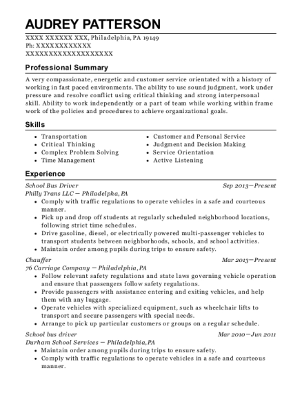 School Bus Driver resume sample Pennsylvania
