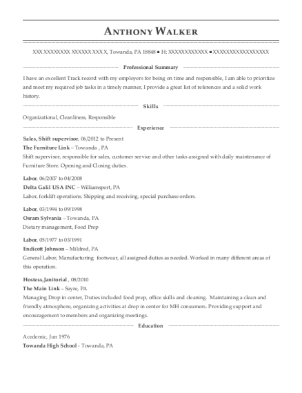Sales resume format Pennsylvania