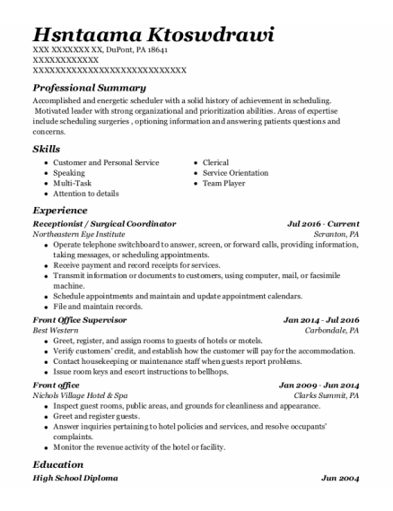 Receptionist resume sample Pennsylvania