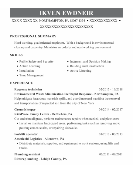 Groundskeeper resume sample Pennsylvania