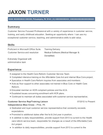 Customer Service Rep resume template Pennsylvania