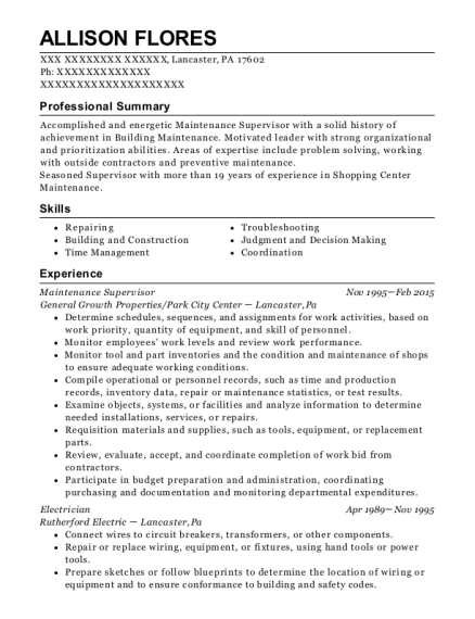 Maintenance Supervisor resume sample Pennsylvania