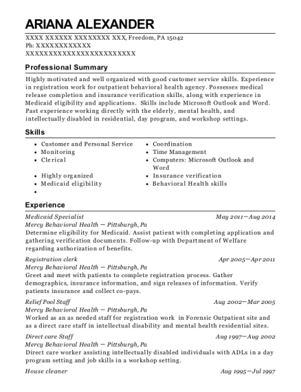 Medicaid Specialist resume sample Pennsylvania