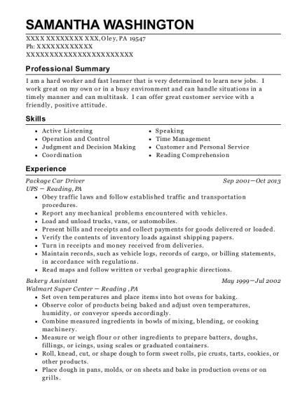 Package Car Driver resume template Pennsylvania