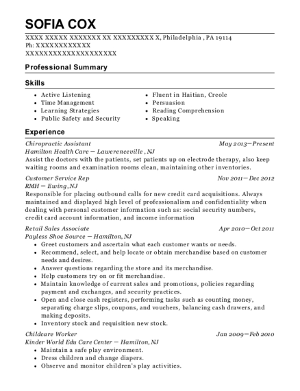 Chiropractic Assistant resume sample Pennsylvania