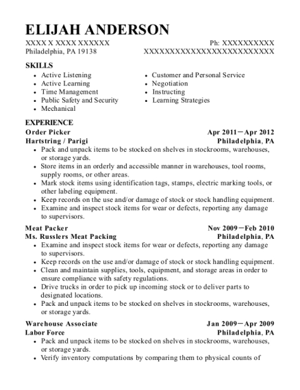 Order Picker resume sample Pennsylvania