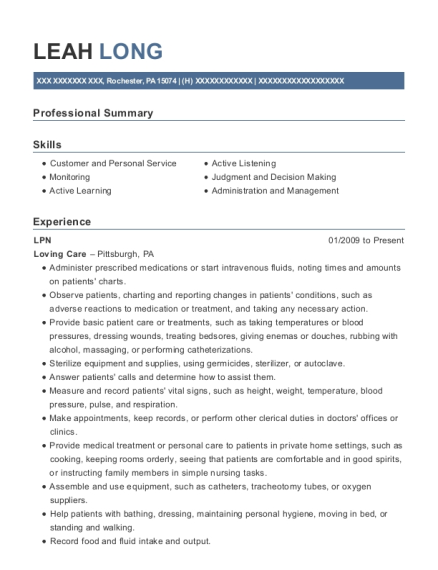 LPN resume template Pennsylvania