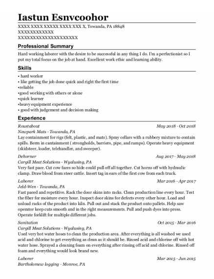 Roustabout resume template Pennsylvania