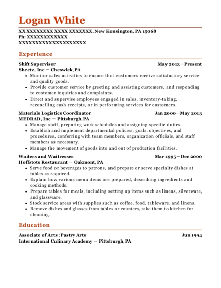 Shift Supervisor resume format Pennsylvania