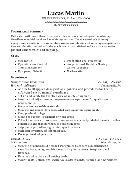 Sample Stock Technician resume format Pennsylvania