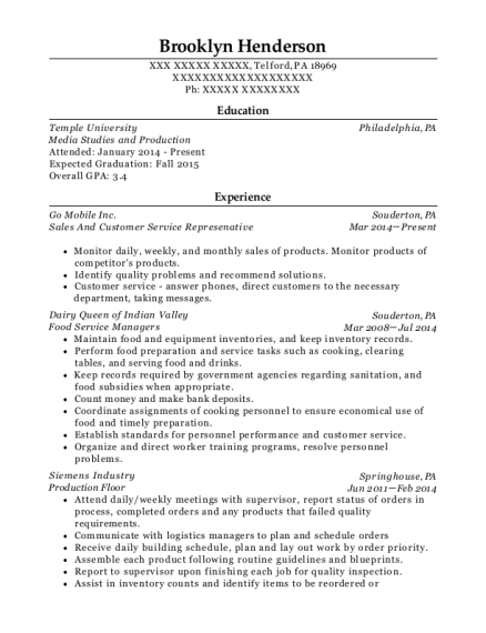 Sales And Customer Service Represenative resume sample Pennsylvania