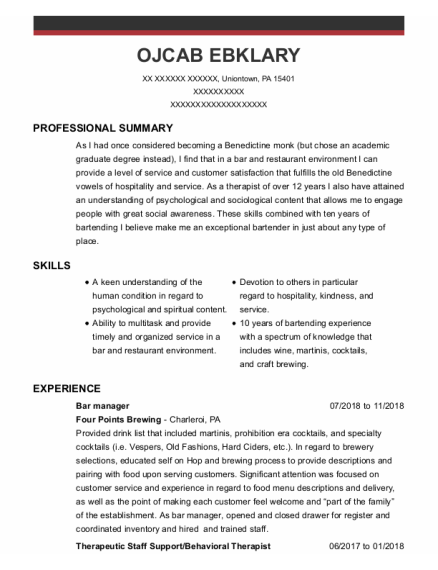 Bar Manager resume template Pennsylvania