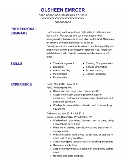 Cook resume template Pennsylvania