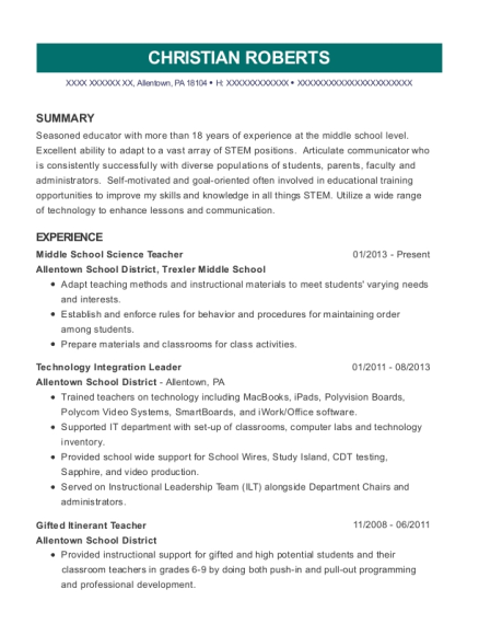 Middle School Science Teacher resume sample Pennsylvania