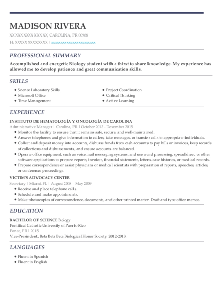 Administrative Manager resume template Puerto Rico