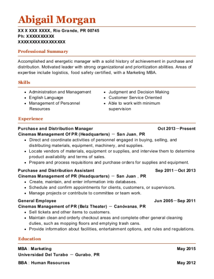 Purchase and Distribution Manager resume format Puerto Rico