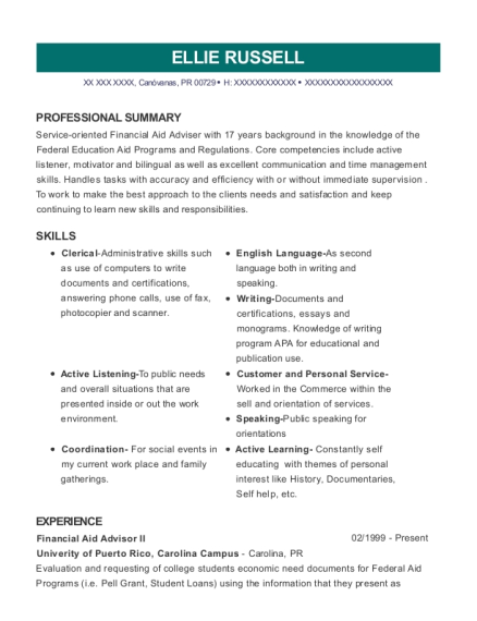 Financial Aid Advisor II resume format Puerto Rico