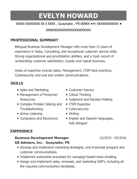 Business Development Manager resume template Puerto Rico