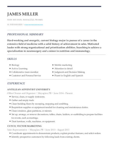 Office Cleaner and Organizer resume template Puerto Rico