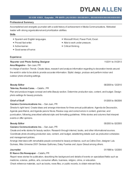 Reporter and Photo Setting Designer resume example Puerto Rico