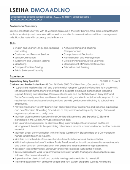 Data Entry Specialist resume format Puerto Rico