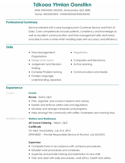 Waiters and Waitresses resume template QLD