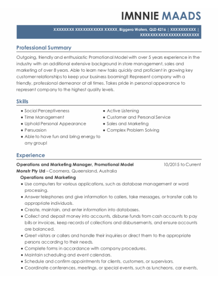 Operations and Marketing Manager resume format QLD