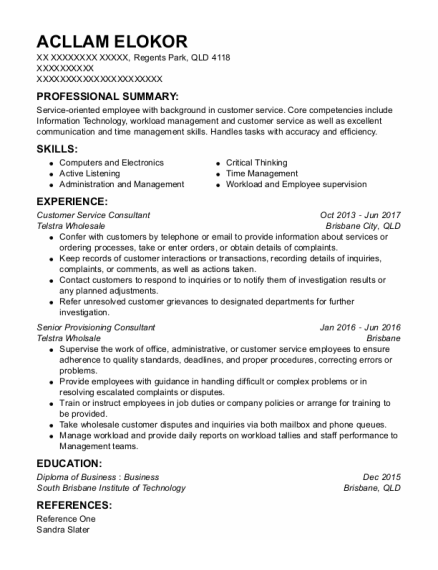 Customer Service Consultant resume example QLD