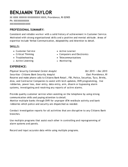 Physical Security Command Center Anaylst resume example Rhode Island
