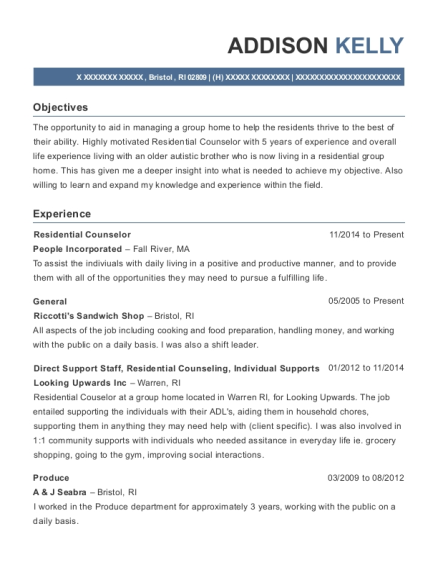 Residential Counselor resume template Rhode Island