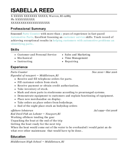 Parts Counter resume template Rhode Island