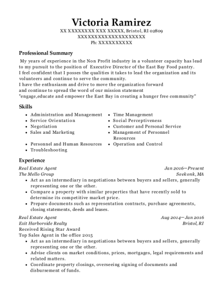 Real Estate Agent resume template Rhode Island