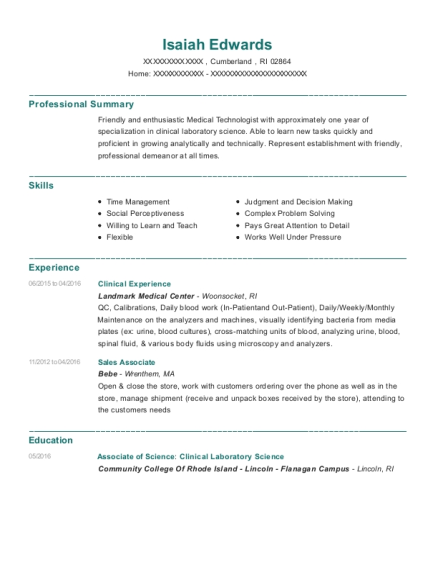Clinical Experience resume sample Rhode Island
