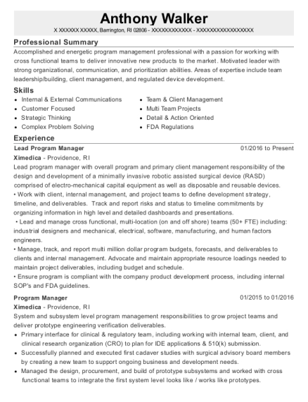 Lead Program Manager resume template Rhode Island