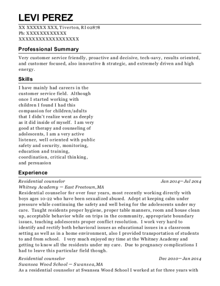 Residential counselor resume example Rhode Island