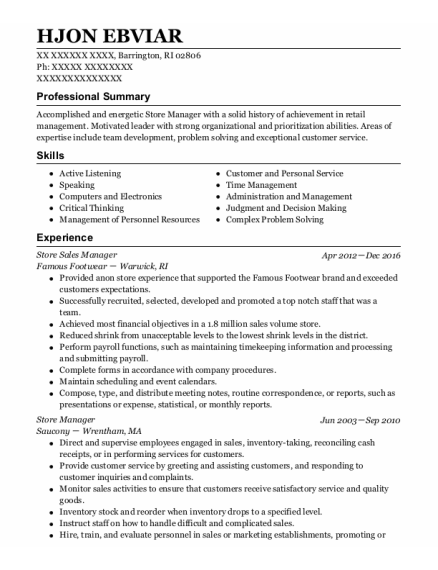 Store Sales Manager resume sample Rhode Island