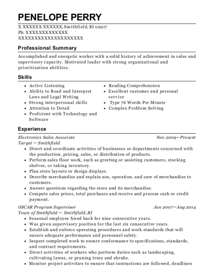 Electronics Sales Associate resume template Rhode Island