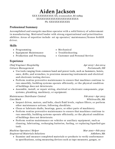 Chief Engineer Hospitality resume format Rhode Island