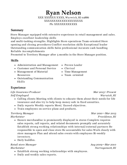 Life Insurance Producer resume format Rhode Island