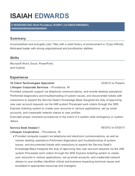 IS Client Technologies Specialist resume template Rhode Island