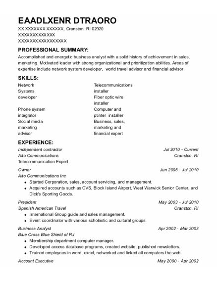 Independent Contractor resume sample Rhode Island