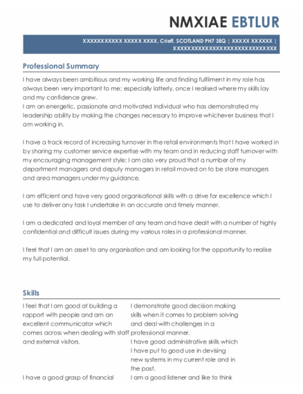Hr Manager resume example SCOTLAND