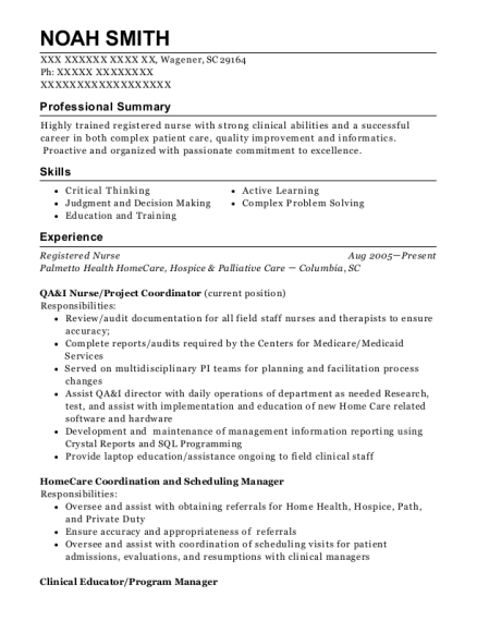 Registered Nurse resume format South Carolina