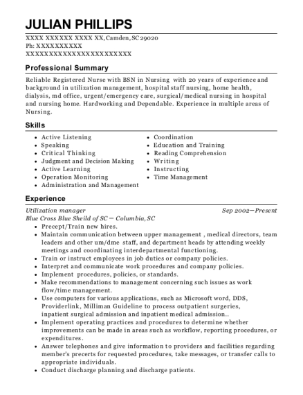 Utilization manager resume format South Carolina