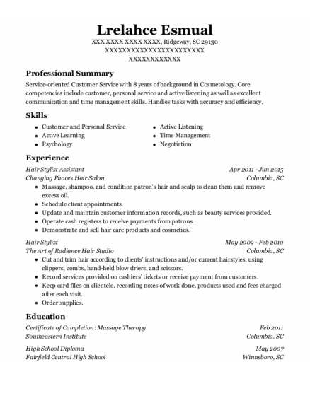 Hair Stylist Assistant resume template South Carolina