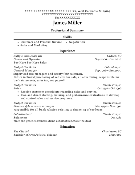 Owner and Operator resume format South Carolina