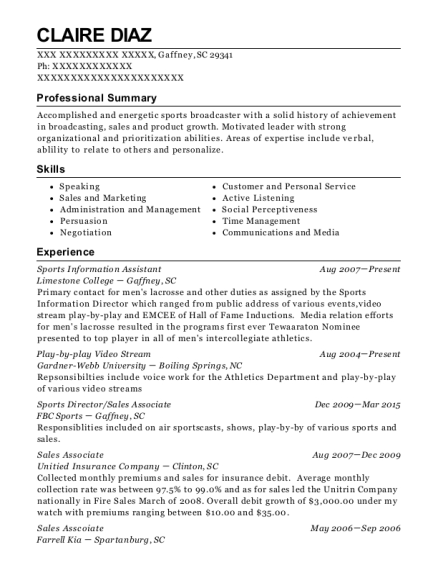 Sports Information Assistant resume example South Carolina