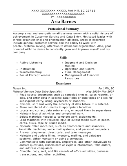 National Service Data Entry Specialist resume template South Carolina